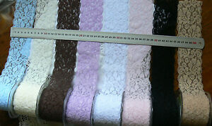 Polyester-Stretch-Floral-Lace-65mm-wide-8-Colours-2Metre-Lengths-MultiList-LrgRD