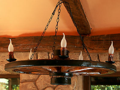 Traditional Rustic Authentic Wooden 5-Light Cartwheel Pendant / Ceiling Light