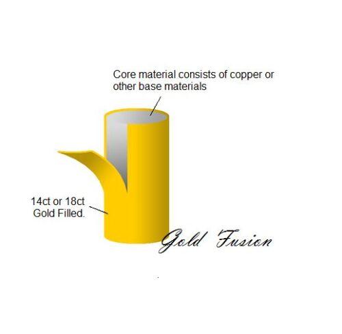 18K oro lleno de estilo italiano Diamante Corte Corazón 18ct GF Stud Pendientes 15mm