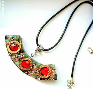 necklace-Orgone-Orgonite-pendant-Ethnic-Red-Jasper-Aventurine-Shungite-Reiki