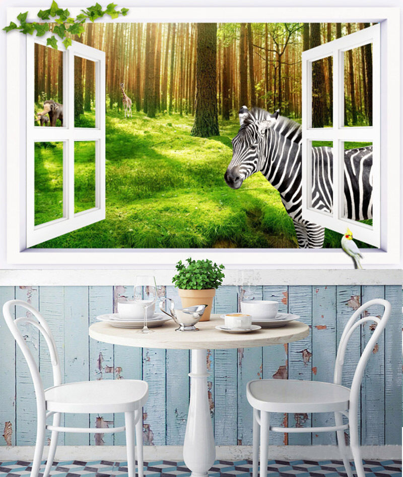 3D forest zebra Grassland Wall Paper Print Decal Wall Deco Indoor wall Mural
