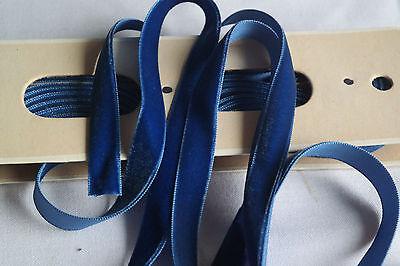 """30y bolt vtg blue velvet french tiny 1//8/"""" ribbon trim Millinery hat doll dress"""