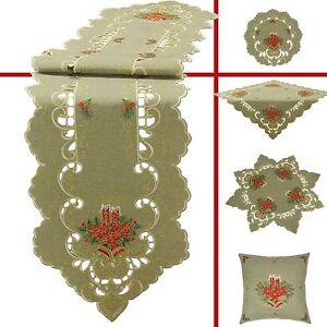 Weihnachten-Tischlaeufer-Tischdecke-Mitteldecke-Deckchen-Stickerei-Gruen-Beige