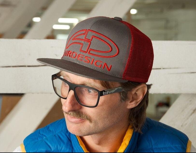 Air-Design Red Grey Baseball Peak Hat Cap - Paramotor Paraglider Paramotoring