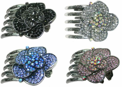 Bella Metal Claw Clip Large Flower Round Hair Clip with Metal Claws 5A86104-1