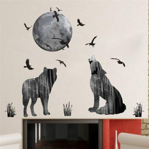 Wall Sticker Home Decor Moon Wolf Birds Poster Kids Room Murals Stickers Decors