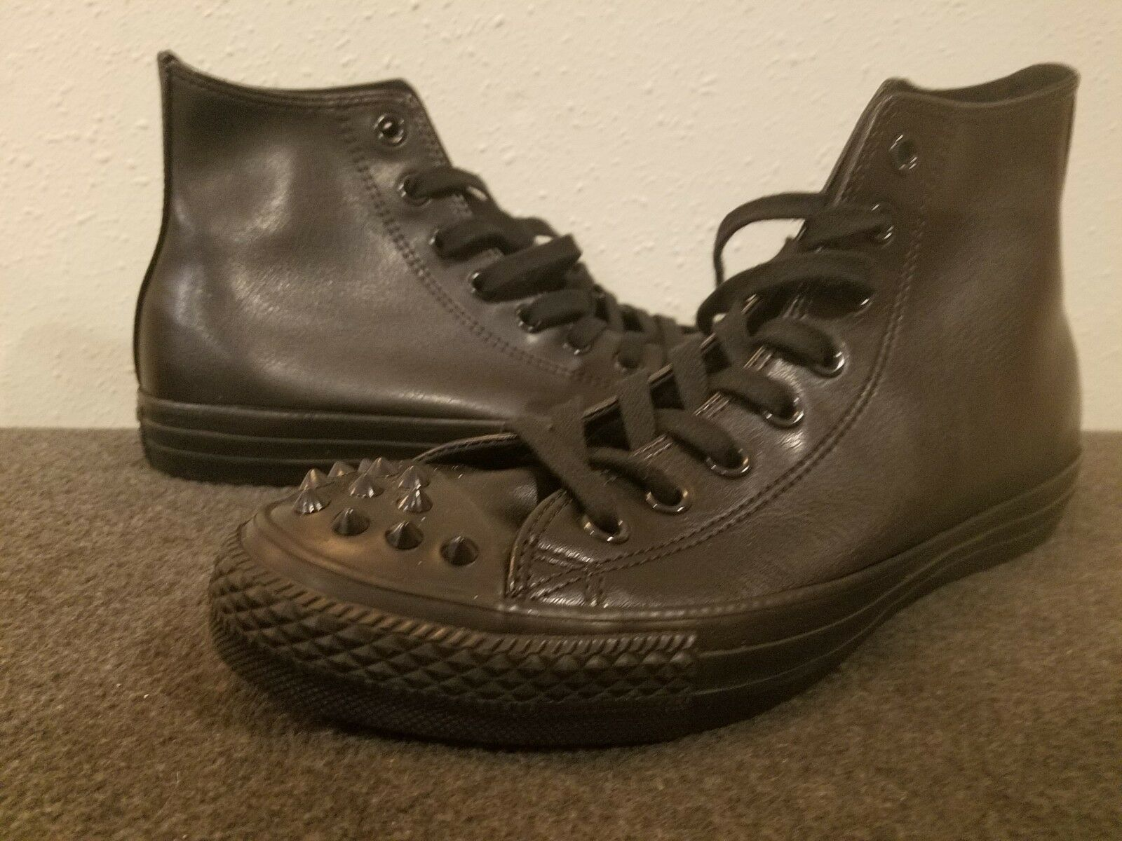 Studded Converse All Star Chuck Taylor High top black shoes black studs SZ 9 HTF
