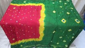 SILK-BLEND-Antique-Vintage-Sari-Saree-Fabric-Material-4yd-Z3-233-Green-ABEM6