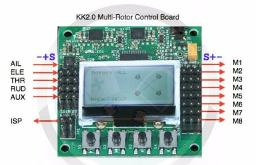 KK2.1.5 Multi-Rotor Flight Controller Board with 1.18S1Pro KK2.1 Quad F450 F550