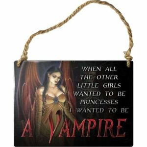 Alchemy-Gothic-I-Want-To-Be-A-Vampire-Steel-Metal-Hanging-Wall-Plaque-Sign-9cm