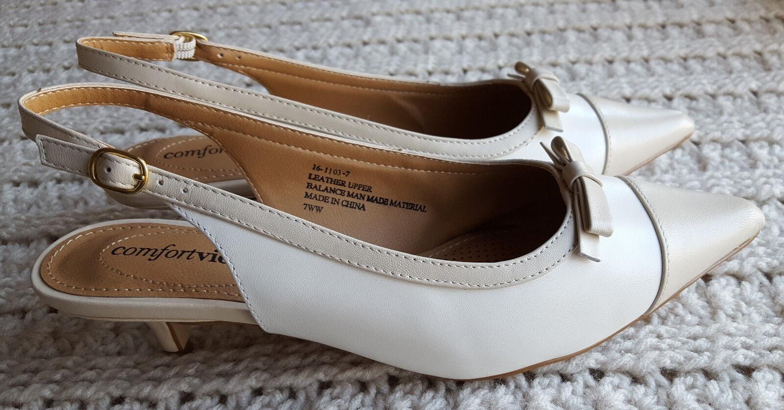 Kim Slingback Casual Heels Leather Oatmeal Ivory/Beige Size Choice Comfortview