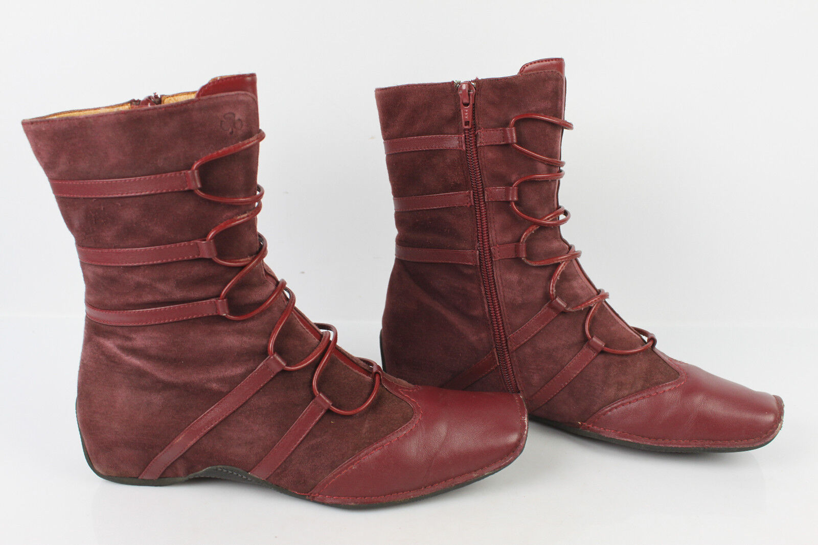 Boots KARSTON Leather and Suede Raspberry T 39 VERY GOOD CONDITION