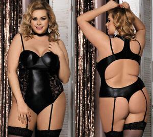 44b2aa60f Plus Size Women Faux Leather Garter Teddy Lingerie Underwire Bra ...