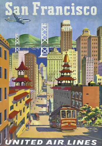 Tw26 Vintage 1950/'s San Francisco viajar Cartel volver a imprimir A3