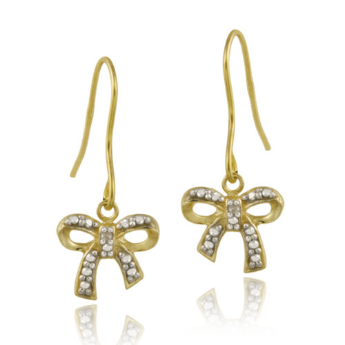 Details about  /Gold over 925 Silver Diamond Accent Bow Dangle Earrings