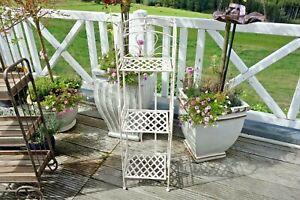 Details zu Shabby Schmales Eisen Regal Bad Küche Blumen Regal 113 x33 x29  cm Retro Weiß Neu