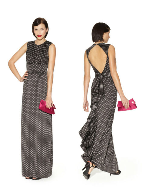 Kate Young For Target Dress Open Back Evening Polka Dot Black All