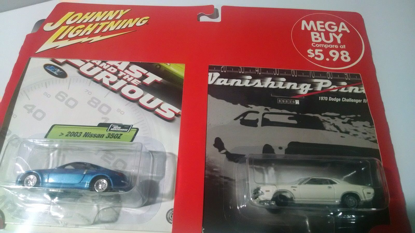 JOHNNY LIGHTNINGERRORFAST&FURIOUS 2003 NISSAN & 1970 DODGE MISSING FRONT TIRE