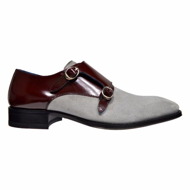 5b0361c1 Mezlan Custom Mens Suede & Leather Double Monk Strap Shoes Light Grey &  Burgundy