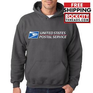 USPS POSTAL CHARCOAL HOODIE Hooded Sweatshirt Logo Chest United States Service