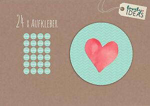 24-x-Geschenkaufkleber-034-Herz-034-40mm-tuerkis-Etiketten-Aufkleber