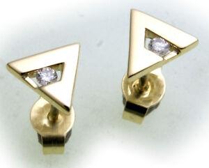 Mujer-Pendientes-De-Perno-Oro-585-Brillante-0-05ct-SI-Amarillo-Diamante-MATE
