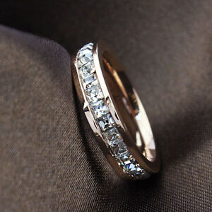 Silver-Rose-Gold-CZ-Titanium-Steel-Ring-Men-Womens-Stainless-Wedding-Band-Sz3-10