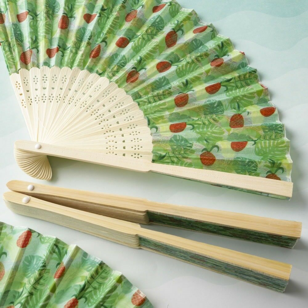 100 plage tropicale Ananas Silk Pliable Fans Wedding Bridal Shower Party Favor