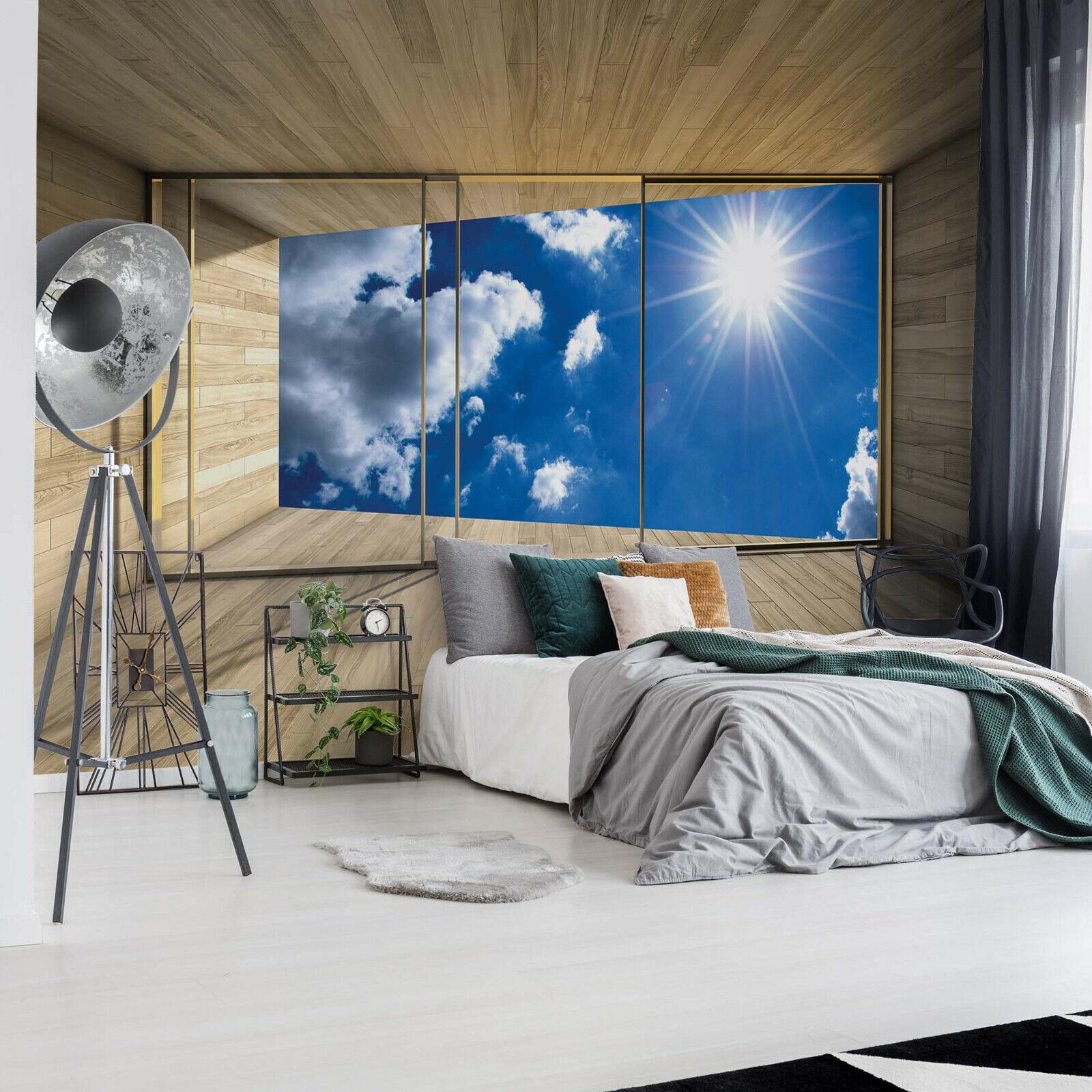 Tapete Design Fototapete Natur Landschaft blauer Himmel Wolken Fensteraussicht