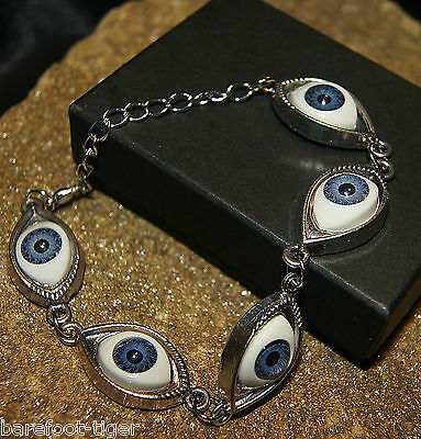 Mystical Eye Protection Amulet Bracelet. Silver Effect. Ladies Girls Boys.
