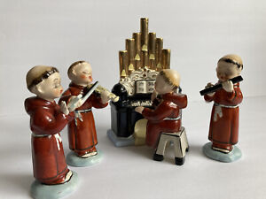Vintage Chase Music Monk Figurine Set 4 Musicians And Organ Hand Painted Japan