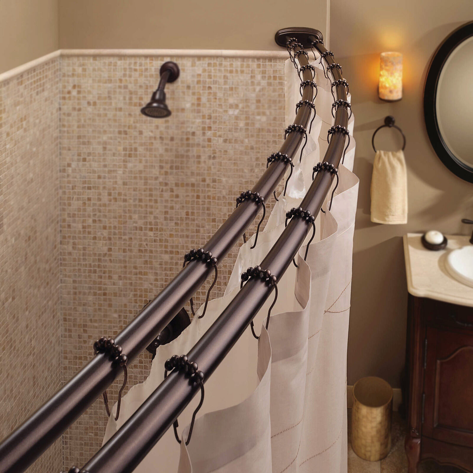 Double Curved Shower Curtain Rod Adjustable Crescent Fixture Oil Rubbed Bronze