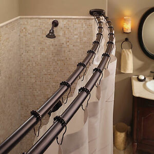 Double Curved Shower Curtain Rod Adjustable Crescent