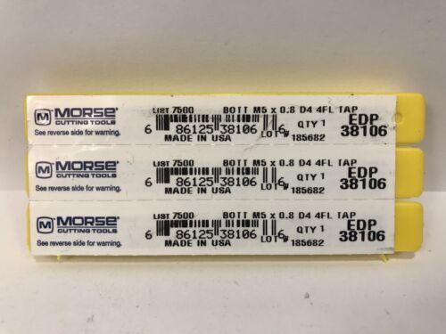 MORSE TAPS M5 X 0.8 D4 4FL New EDP 38106 3pcs