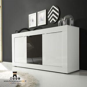 Madia Cucina Moderna.Dettagli Su Basic Madia Contenitore 3 Ante Bianco E Antracite Credenza Moderna Mobile Cucina