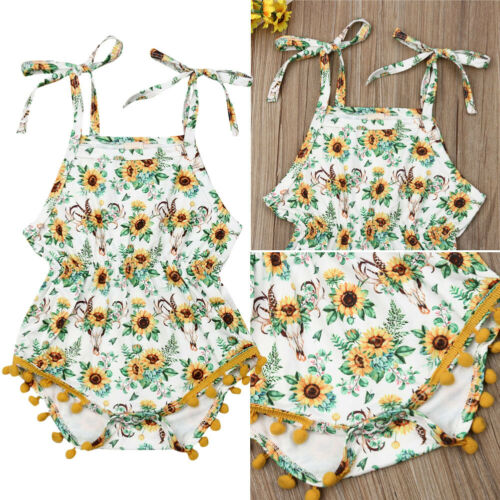 US Infant Baby Girl Sleeveless Sunflower Romper Jumpsuits Summer Outfit Clothes