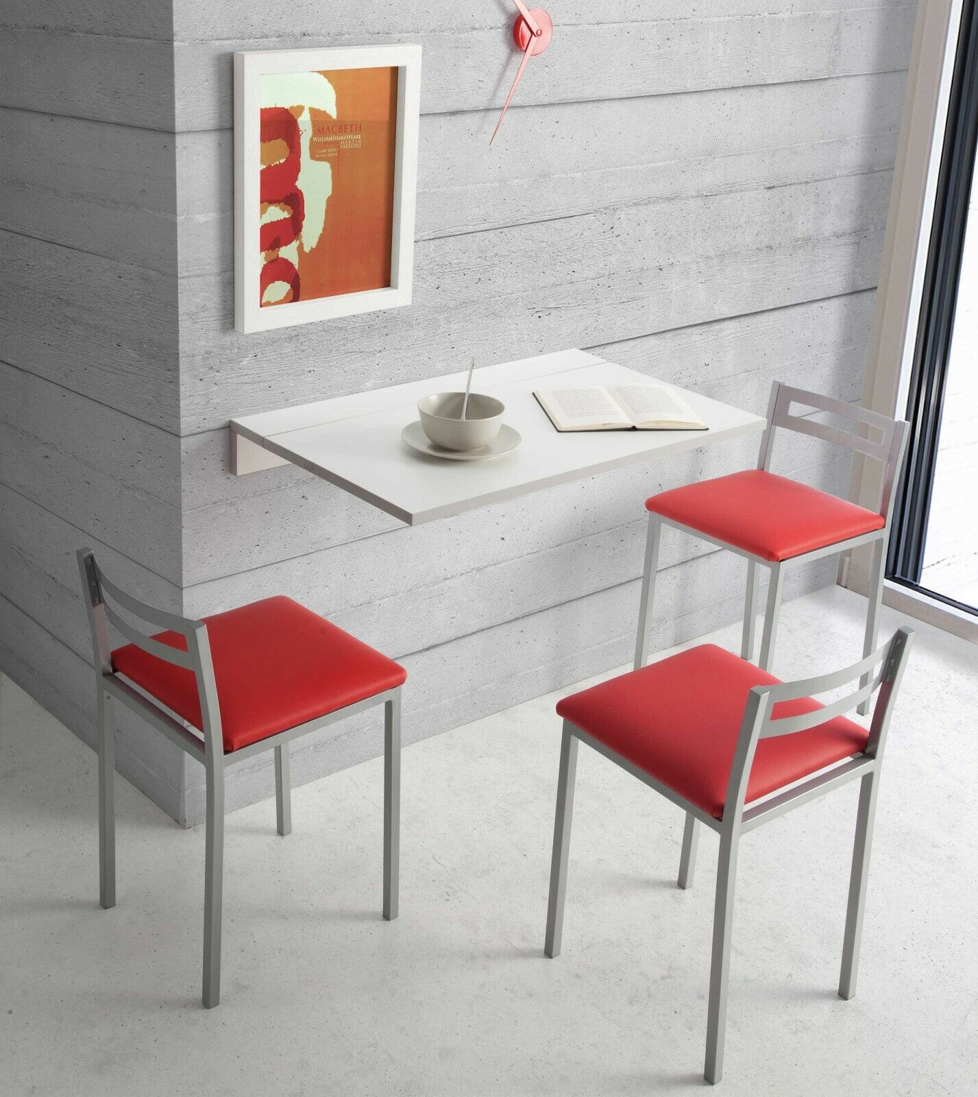 Detalles de Mesa cocina plegable color blanco Vera moderno abatible  funcional pared 80x10-50