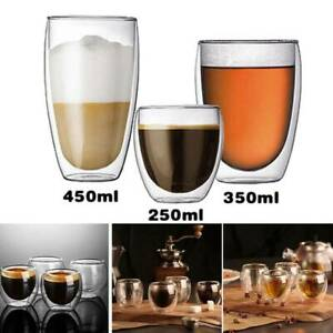 2pcs 80ml Double layer Glass Coffee Cup European style