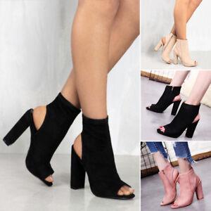 UK-Womens-Mid-Block-Heel-Peep-Toe-Open-Back-Zipper-Heels-Ankle-Boots-Big-Sandals