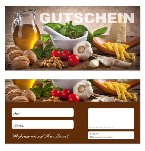 Küche-649 Nudeln  Gastronomie Restaurant Gutscheine 50 x Geschenkgutscheine