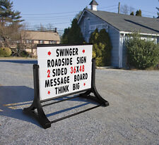 "Swinger Roadside Double Sided Changeable Letters Message Board Sign 36""h X 48"""