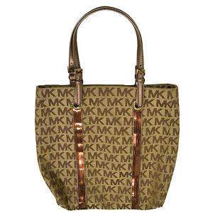 Michael Kors Handbag Purse Sequin Stripes Ns Tote 38f3csst3j Suntan ... f4a0e27ac1596