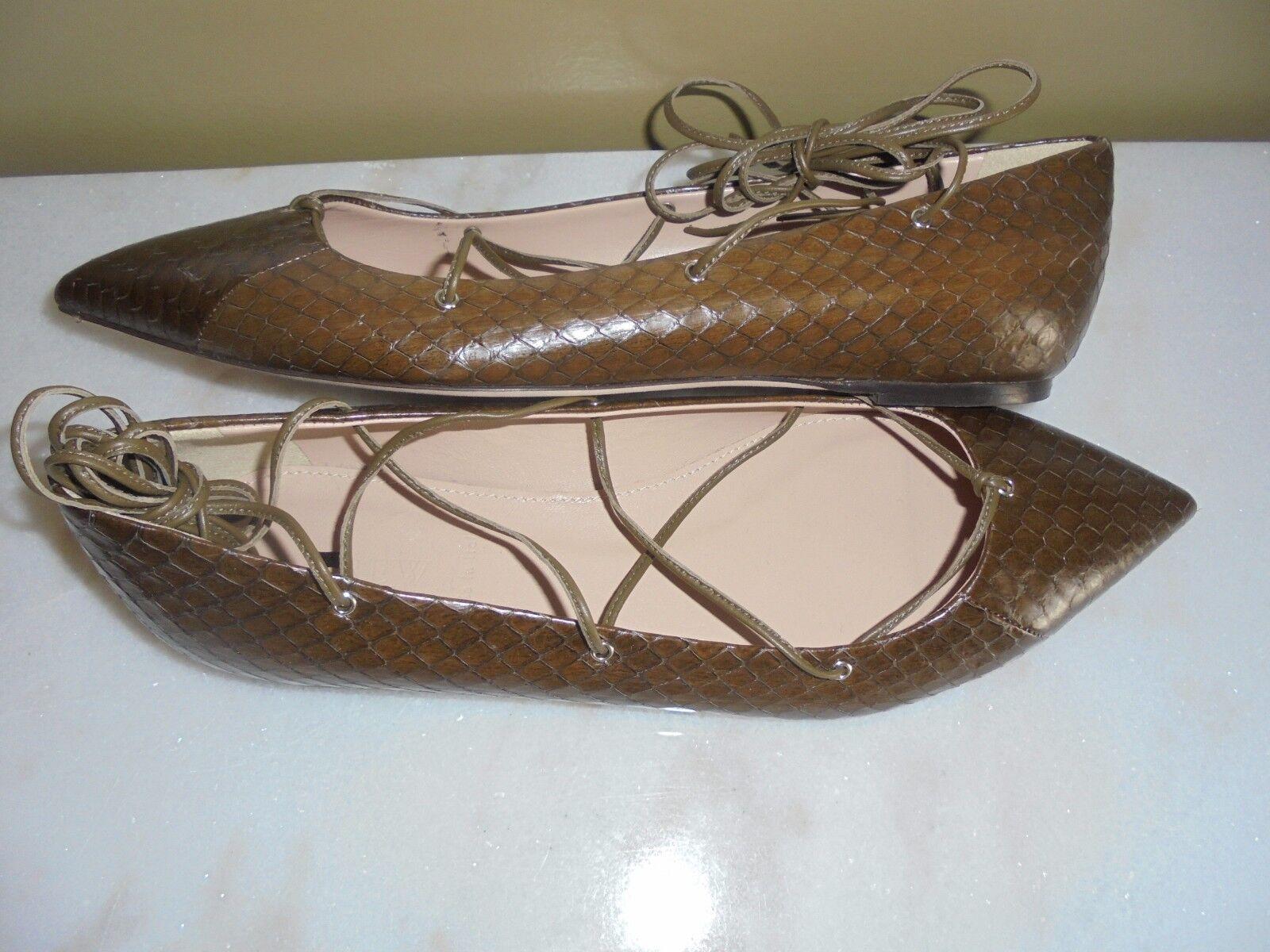 J CREW COLLECTION peau de serpent Lace Up flats chaussures 9.5 objet  E0763 retair  300
