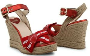 LOVE-MOSCHINO-Women-039-s-Red-Wedge-High-Heel-Sandal-Shoes-New-100-Authentic