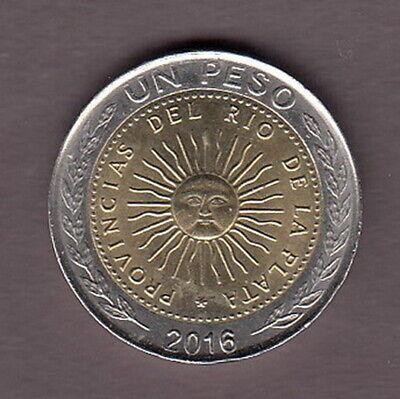 KM112 UNC 2016 ARGENTINA ROLL x 25 BIMETALLIC COINS 1 Peso Radiant Sun