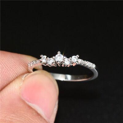 Elegant Women White Sapphire 925 Silver Jewelry Two Tone Wedding Ring Size 6-10