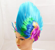 Blue Mohawk Punk Kids Fancy Dress Wig Adults Party Cosplay Stag Novelty Wigs