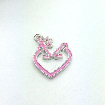 Free Shipping 2pcs pink Browning Deer Alloy Metal Charms New Pendants #