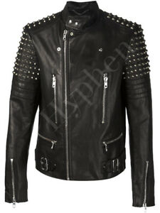New-Mens-Black-Silver-Studded-Zippered-Button-Cowhide-Biker-Leather-Jacket