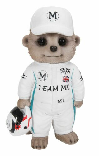 Racing Driver F1 Baby Meerkat Ornament Gift Garden Fun NEW Indoor or Outdoor